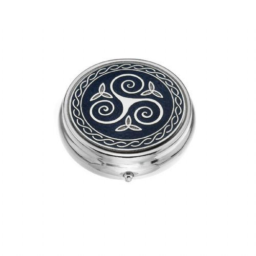 Large Pill Box Silver Plated Celtic Triskele Trinity Purple Brand New & Boxed